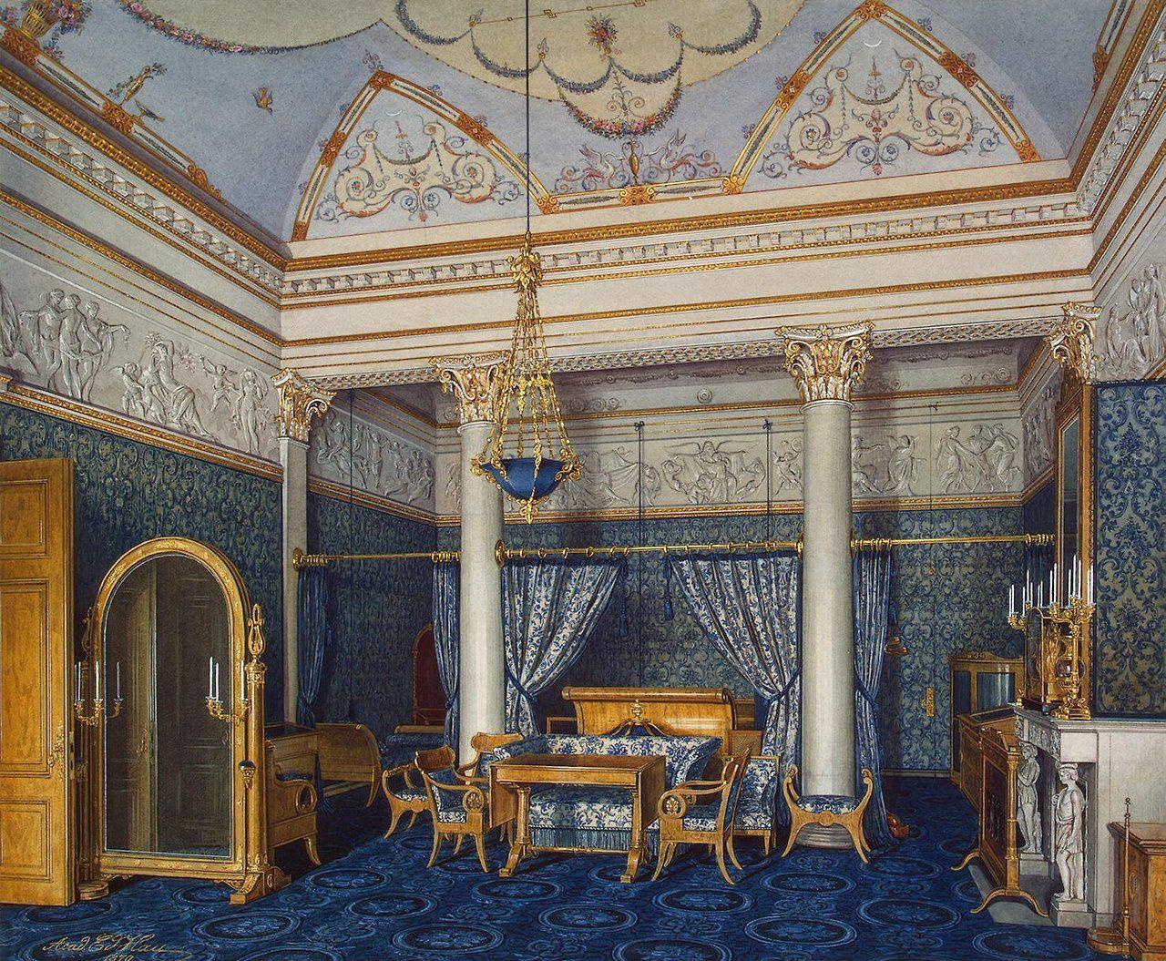 Inside the Bedchamber of Empress Alexandra Fyodorovna at the Winter Palace, Saint Petersburg