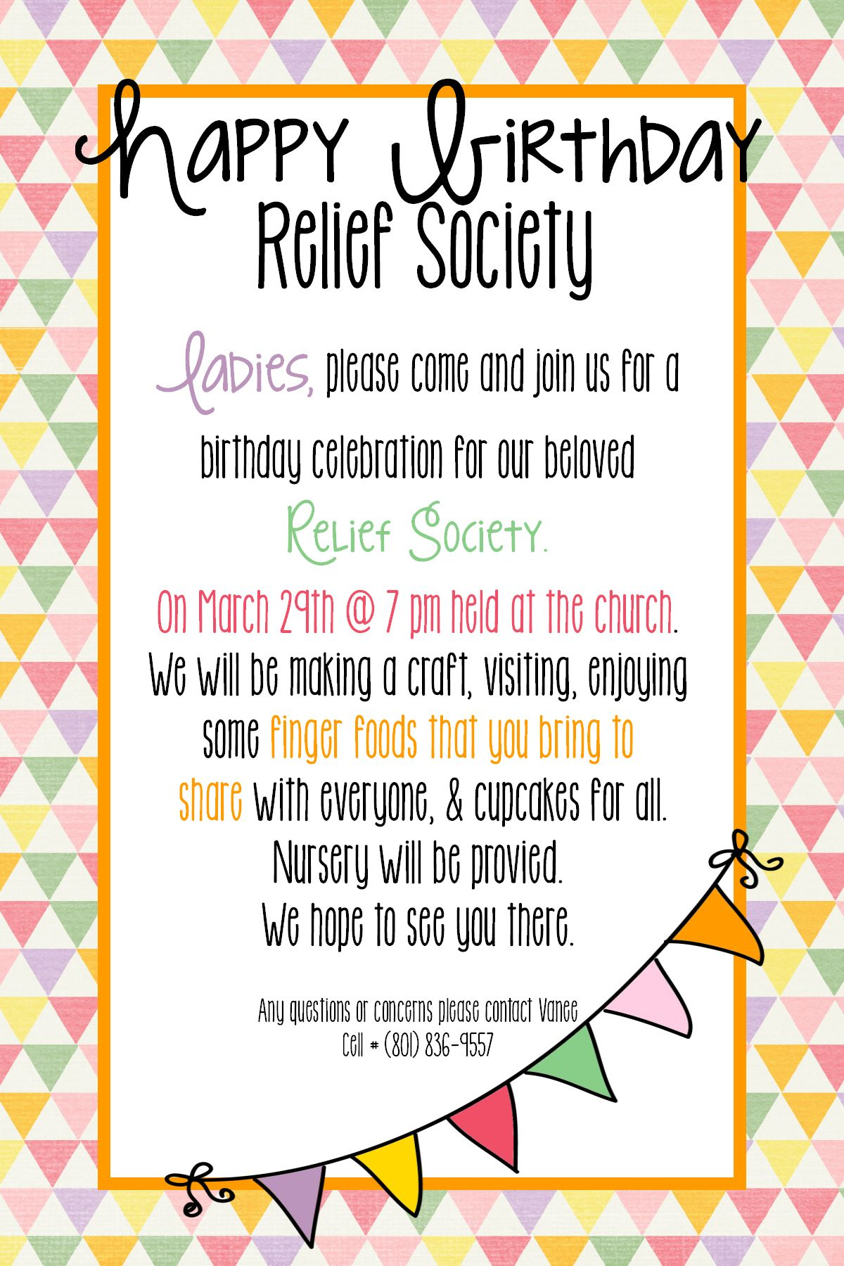 Relief Society Birthday party invite #4 Template  Relief society