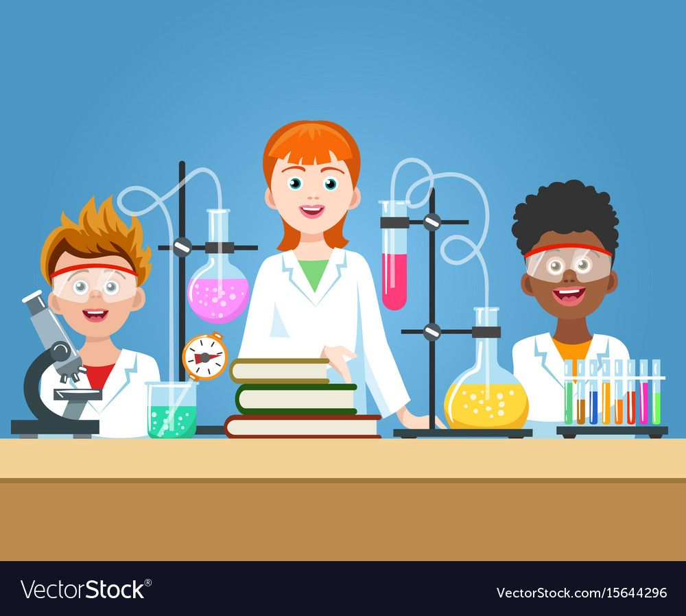 Pupils In Chemistry Lab School Science Class Laboratory With Kids In Safety Glasses With Microscope Vect Science Lab Decorations Chemistry Labs Lab Activities