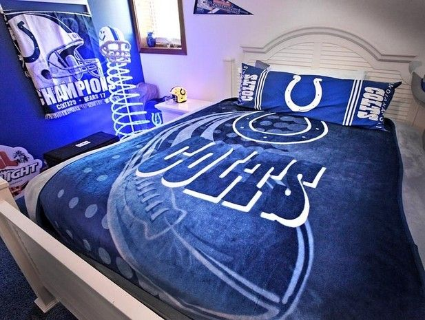 Even The Basement Guest Room Has A Colts Theme The House Has Two