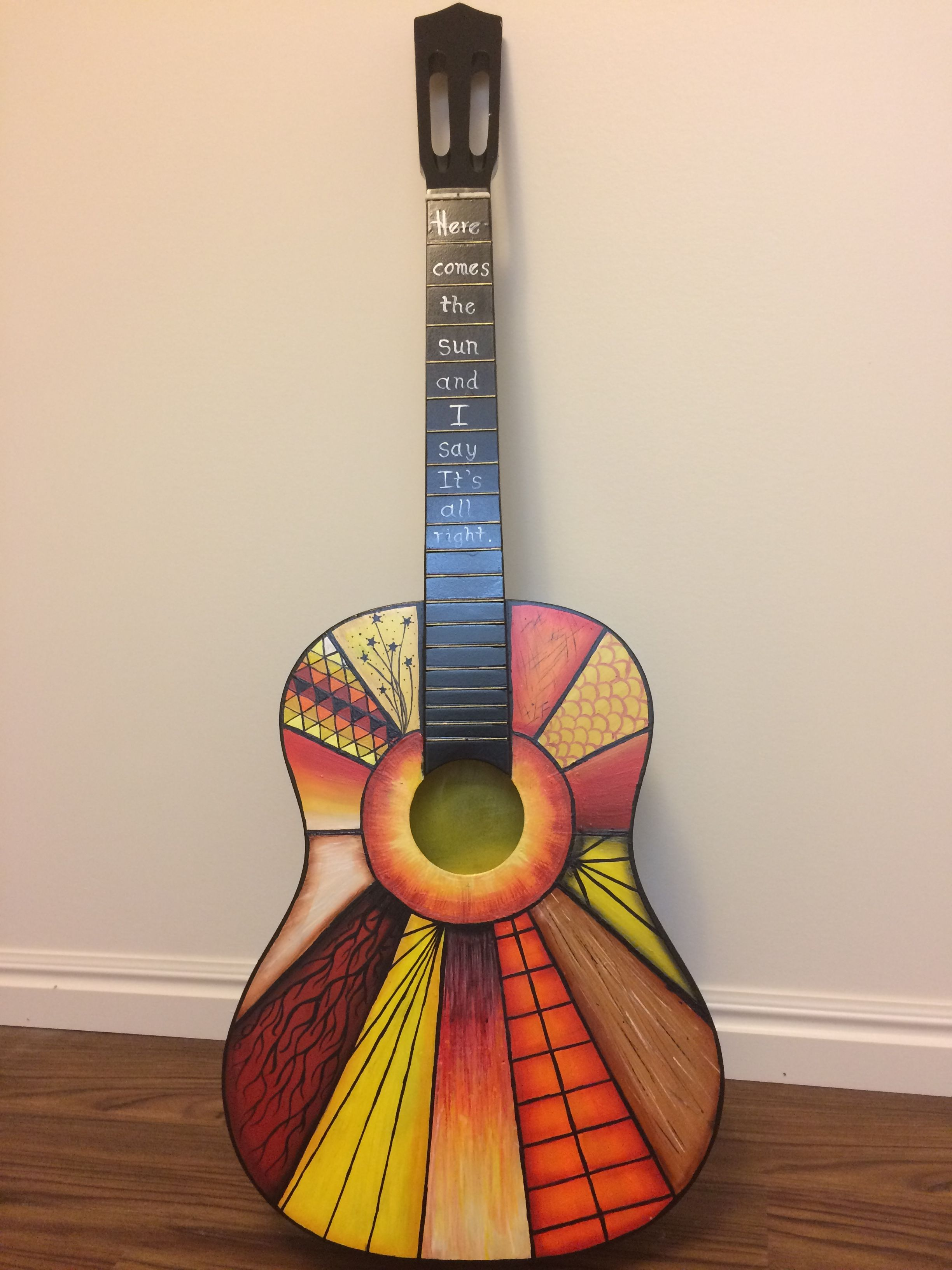 Here Comes The Sun Guitar I Painted This Summer Painted