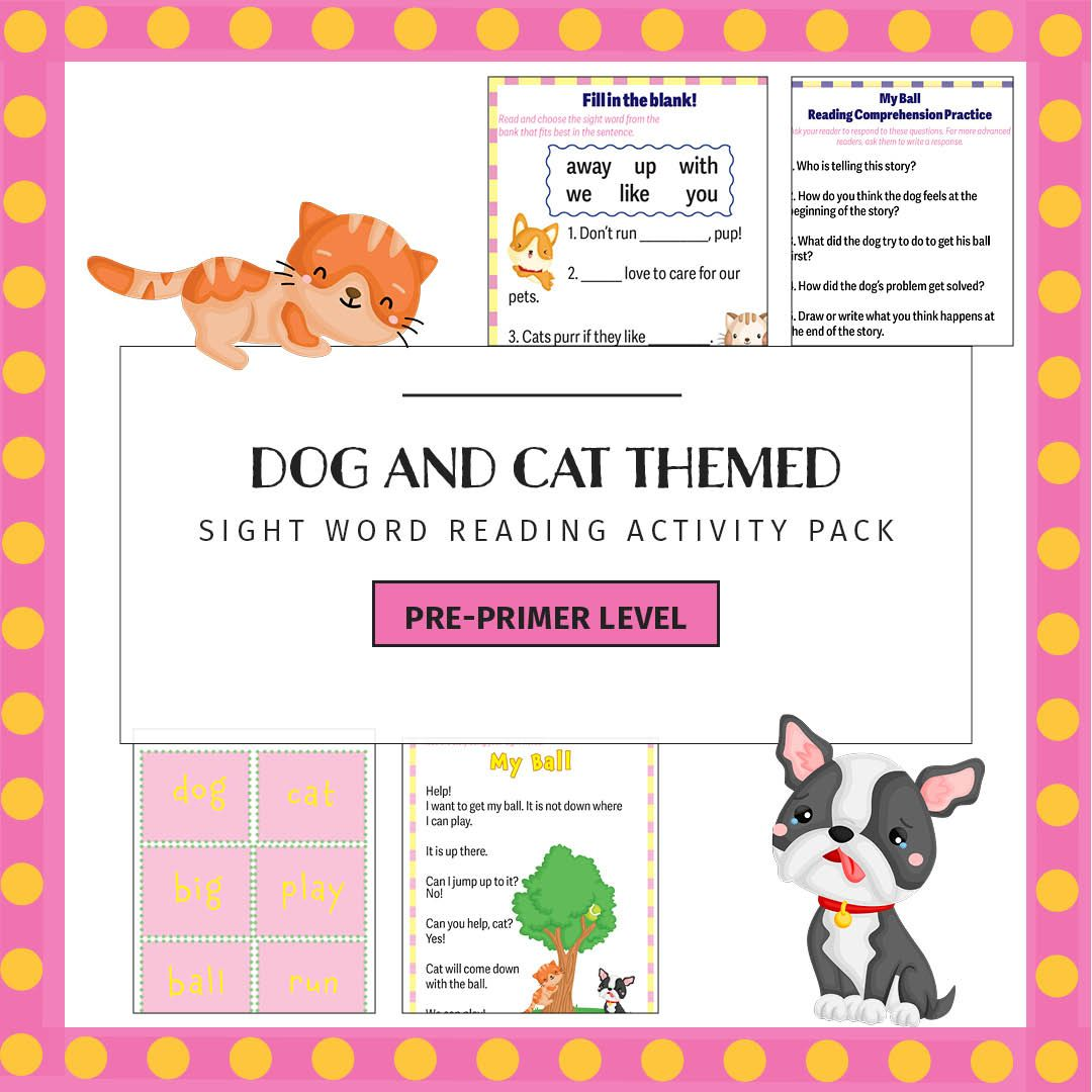 Sight Words Printable Activities Dog And Cat Theme Sight