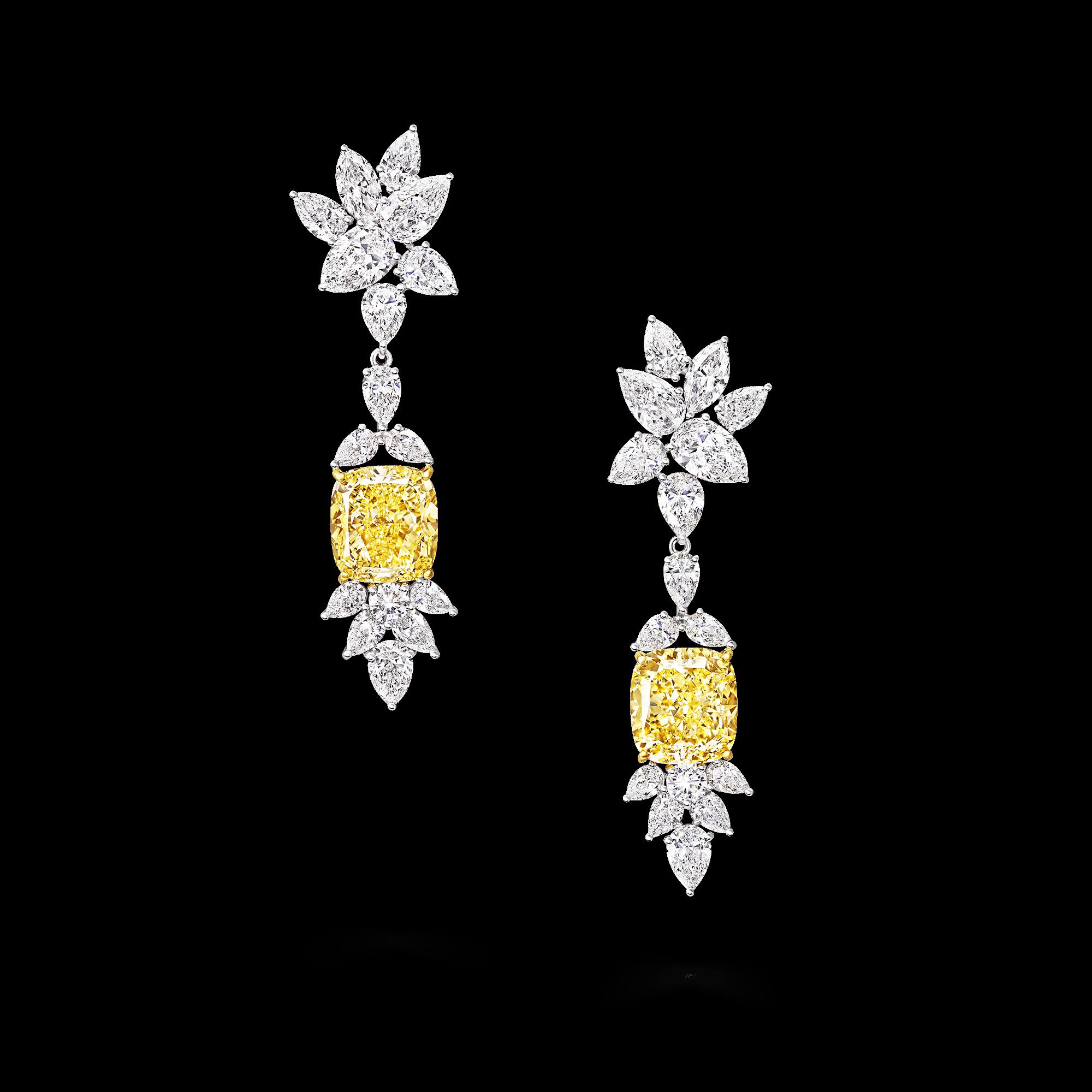 Graff Yellow Diamond High Jewellery A Yellow And White Diamond Earrings High Jewelry Yellow Diamond Yellow Diamond Earring