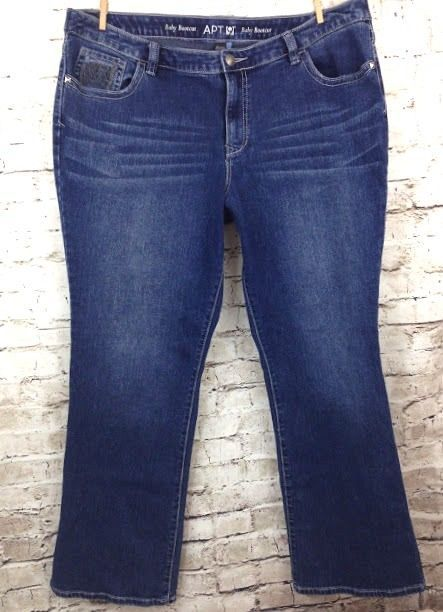 24877e63309 Apt 9 Plus Size 18W Baby Boot Cut Embellished Jeans Distressed Denim Mid  Rise  Apt9  BootCut