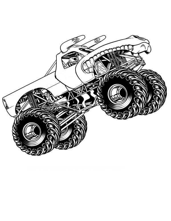 Monster Truck Flying Coloring Page