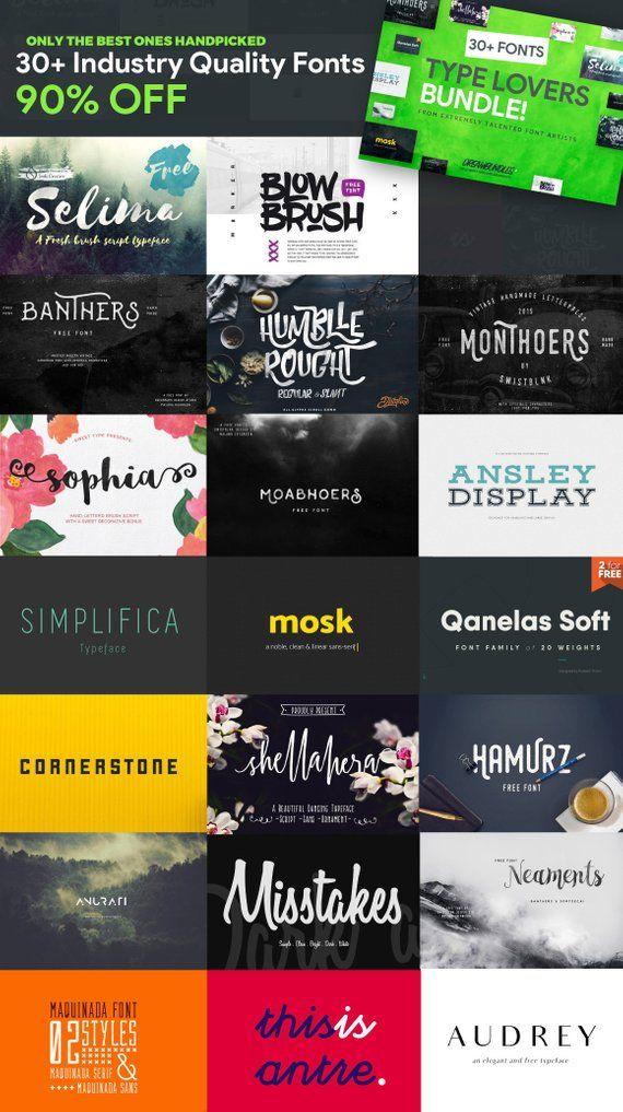 Download FONT PACK-font bundle-90% OFF-30+ professional fonts-for ...