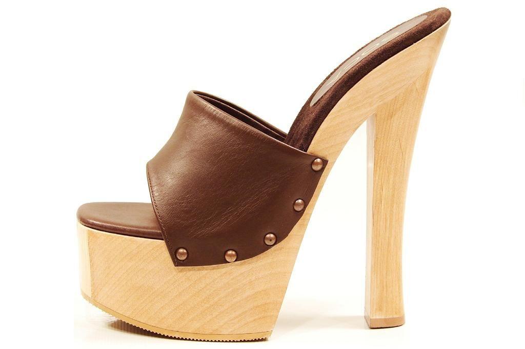 Soca Shoes Candy Brown High Heel Wood Platform Slip On