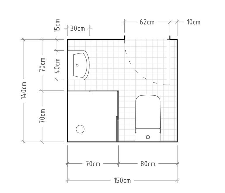 Distribución baño mini con ducha cuadrada