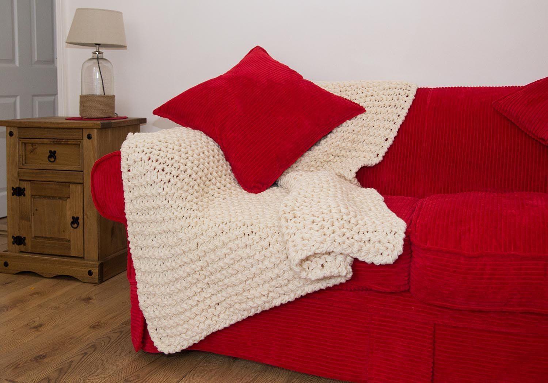 Photo of Superbenzin chunky Knit Blanket Huge Throw Giant Yarn Chunky Blanket Knitted Rug…