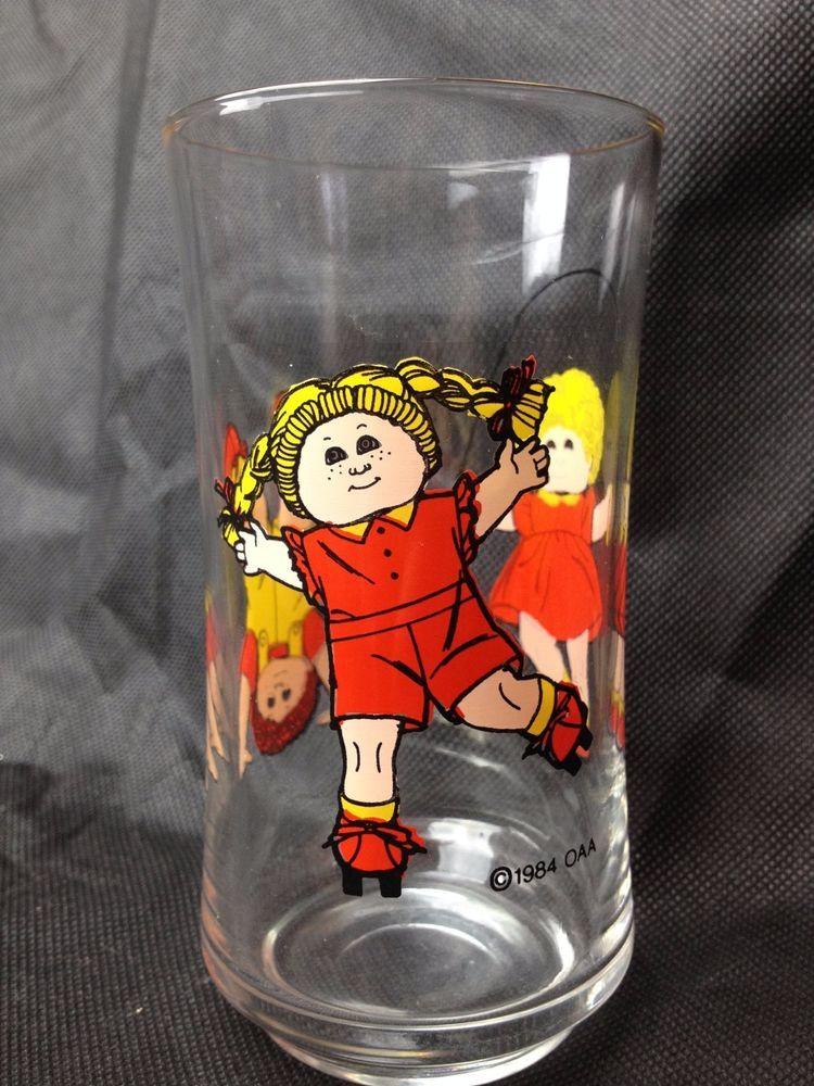 Vtg 1984 Cabbage Patch Kids Beverage Drink Glass Cup Decor Dolls Retro Kitchen Ebay Kid Drinks Cabbage Patch Kids Ebay