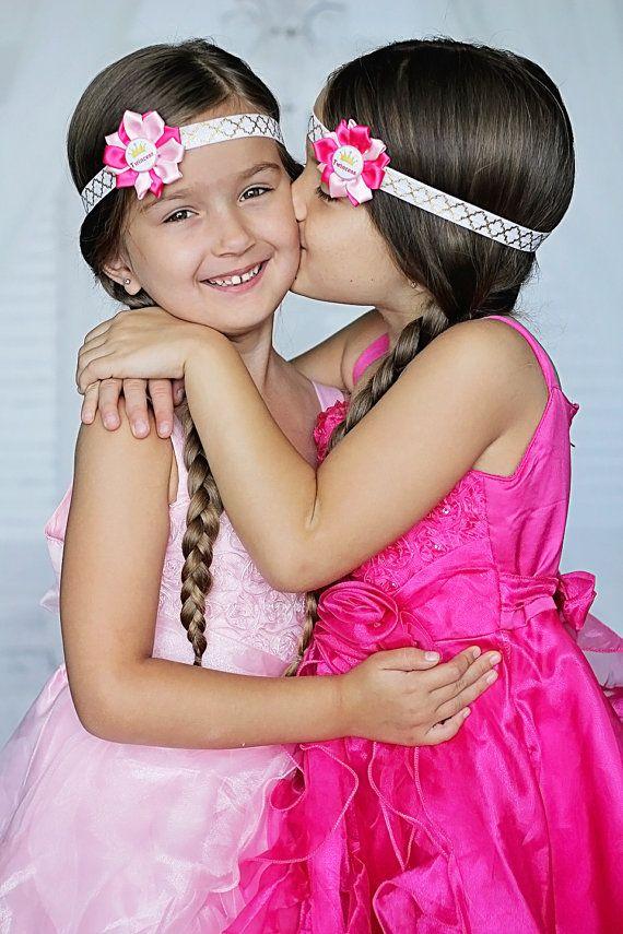 Pink Twincess Flower Headbands Twin Princess by KennasKlippiesBows, $16.50