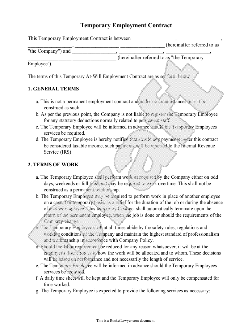 Sample temporary employment contract form template for Free temporary employment contract template