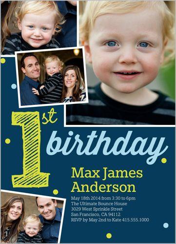 Its My First Boy 5x7 Photo Card Birthday Invitations