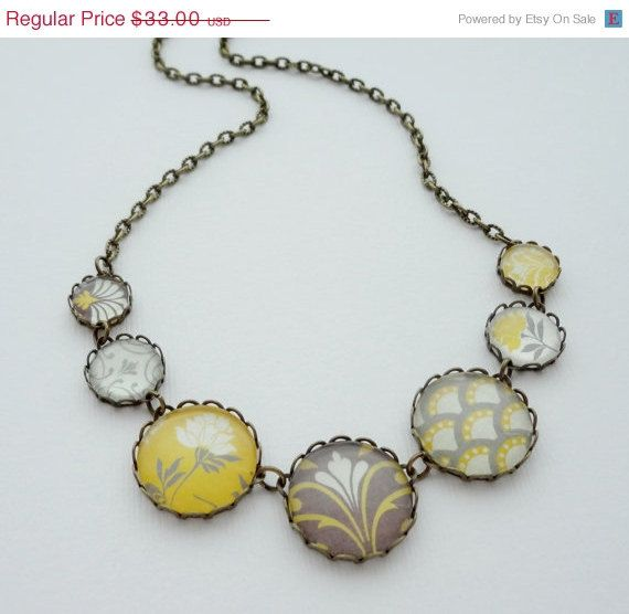 Shop sale modern mustard yellow and gray statement for Mustard colored costume jewelry