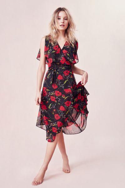 b282a2392 Kimchi Blue Floral Ruffle Wrap Midi Dress | Dresses | Dresses, Wrap ...