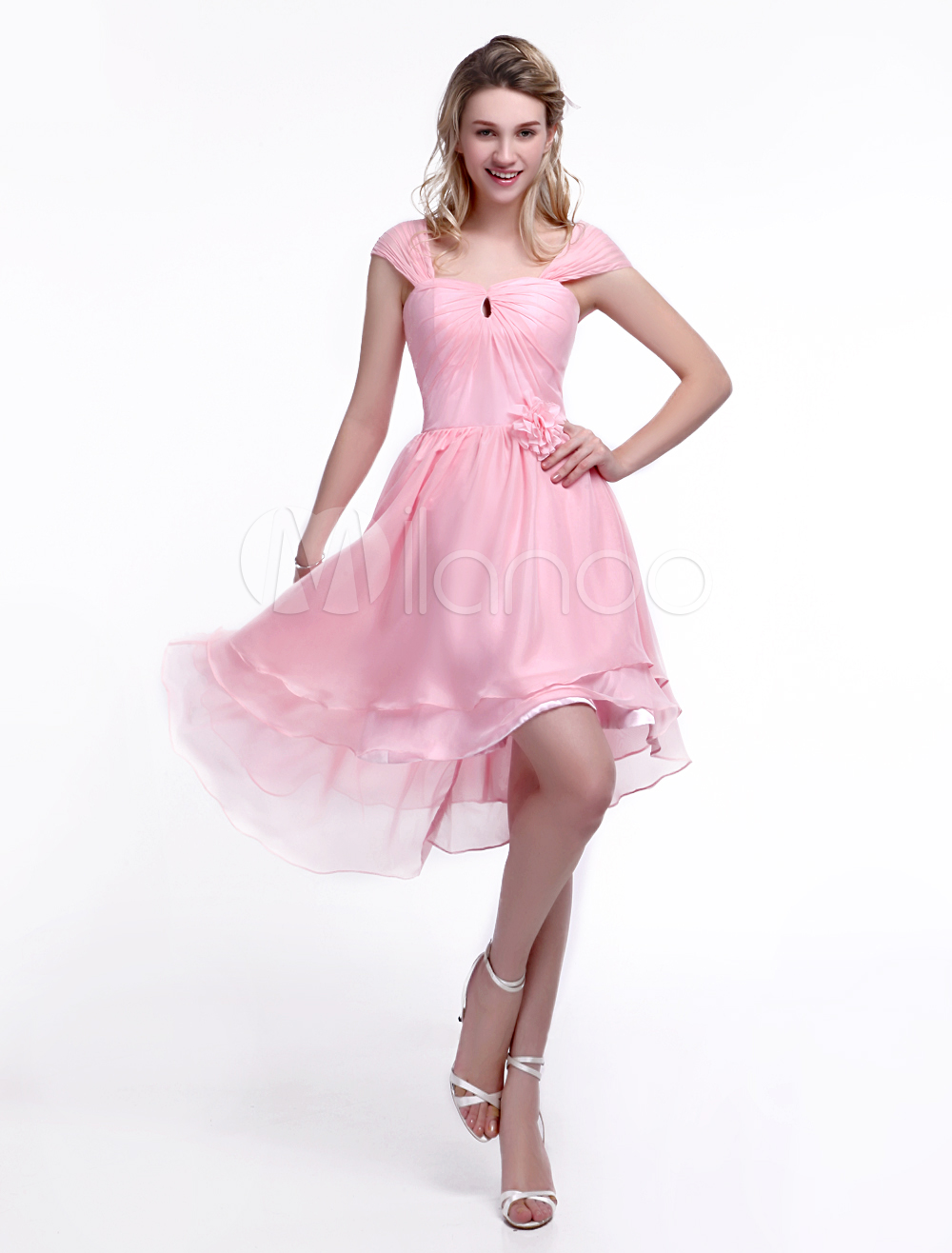 Pink Bridesmaid Dress with Square Neck and Flower Chiffon Skirt ...