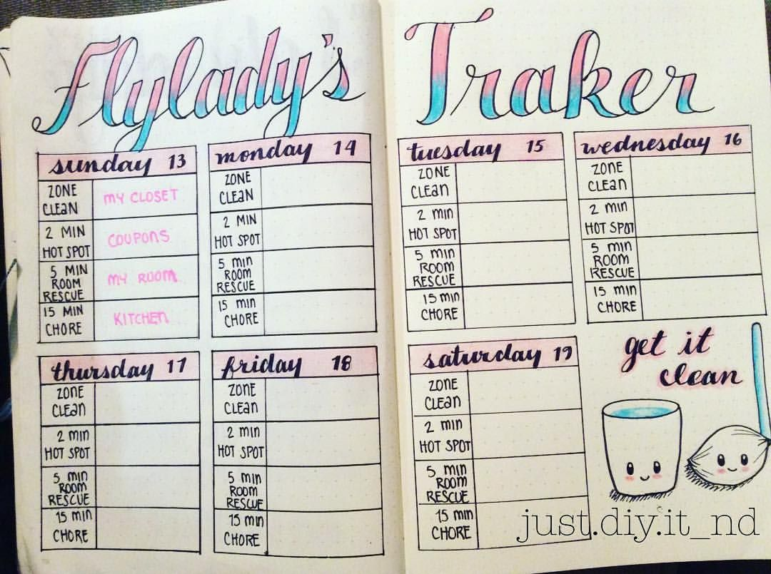 Calendario Flylady.Fly Lady Cleaning List Bullet Journal Adesivos E Planner