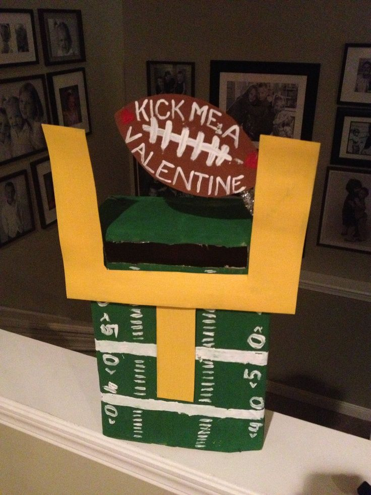 valentines boxes for boys easy valentines box for boyfootball lover fun - Boys Valentine Boxes