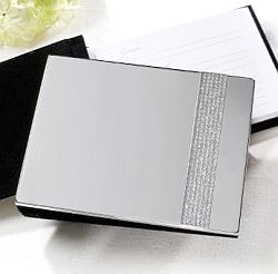 This gorgeous guest book has a chic accent band of sparkling glitter. It contains 39 single-sided, white pages with 24 lines each and holds over 900 signatures.