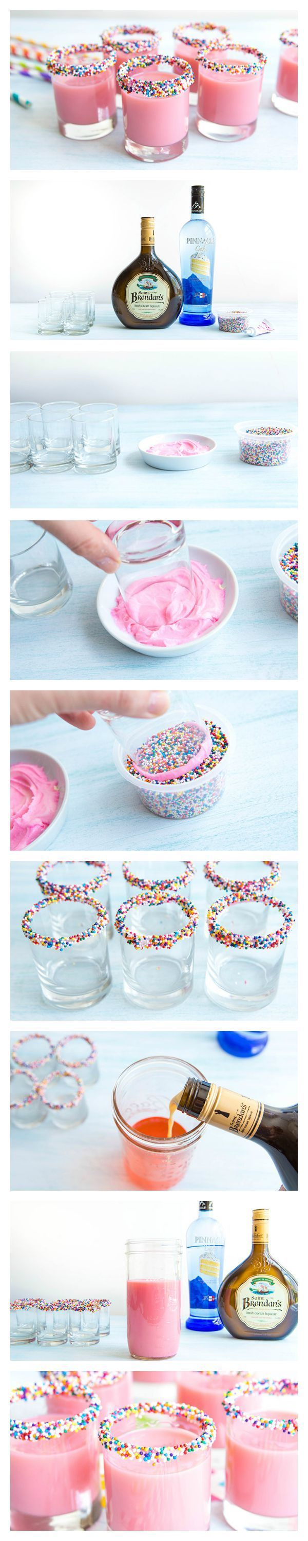 Birthday Cake Shots Recipe Bright pink Birthday cakes and Bright