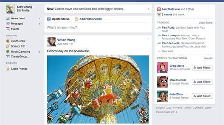 Facebook se simplifica en su version para ordenador con un diseño nuevo renovado mas sencillo dando mucha mas importancia a las imágenes y las noticias.
