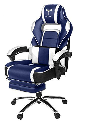 TOPSKY High Back Racing Style PU Leather Executive Computer Gaming Office  Chair Ergonomic Reclining Design With Lumbar Cushion Footrest And Headrest  ...