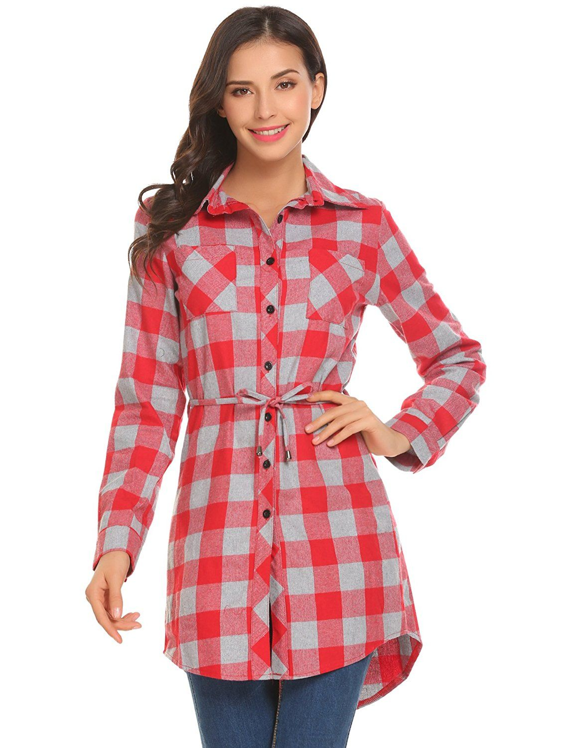 Flannel t shirts  Hotouch Womenus Fall Flannel Plaid Long Sleeve Belted Casual Shirt