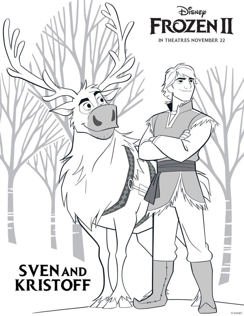 Frozen Kristoff And Sven Coloring Page Dibujos De Frozen Frozen