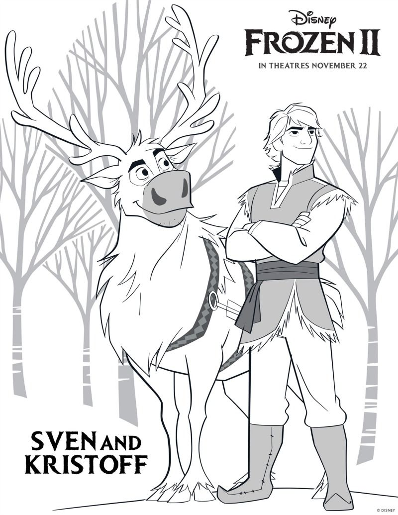 Frozen Kristoff And Sven Coloring Page In 2020 Frozen Coloring
