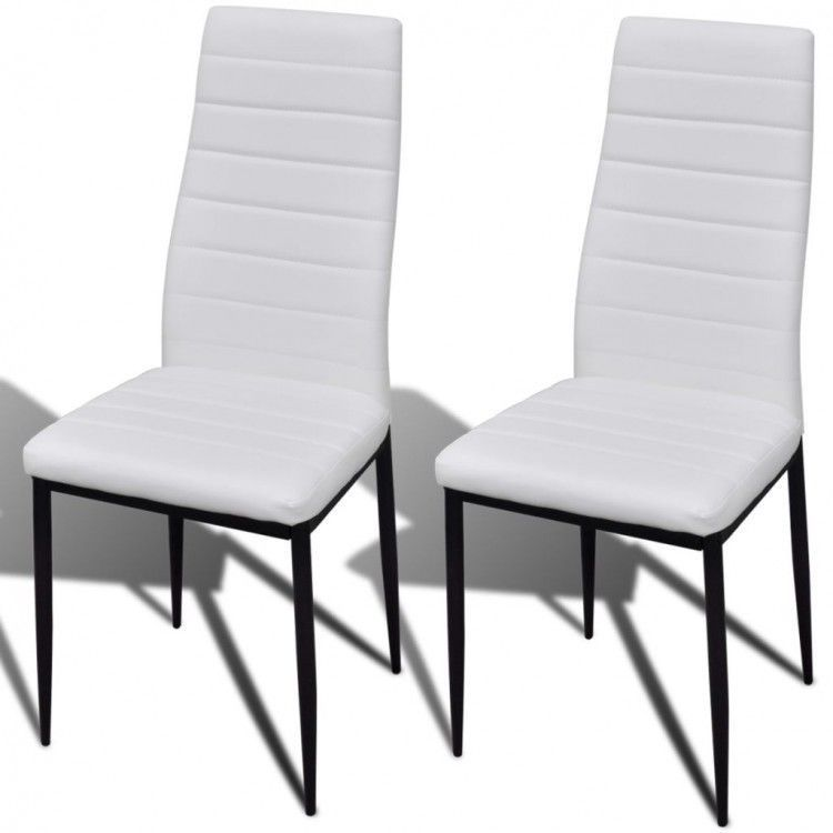 Dining table chairs set of 2 leather metal kitchen