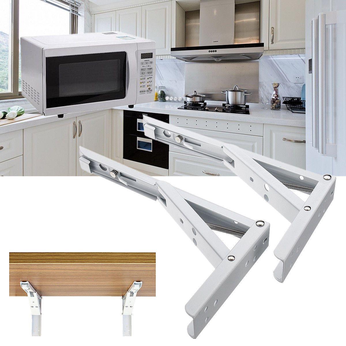 2pcs Microwave Ovens Wall Mounted Triangle Spring Folding Shelf
