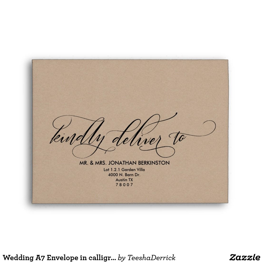 wedding a7 envelope in calligraphy kraft theme envelopes