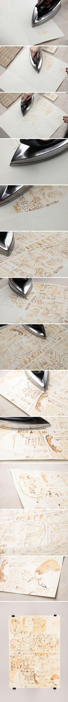 Dessiner avec du lait, laisser sécher, passer le fer à repasser pour révéler des dessins vieillis - Pour une décoration vintage à encadrer - with milk on paper, let dry for 30 minutes, and then iron to reveal