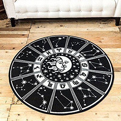 Tidetex Fashion Simple Black White Livingroom Rug Bedside Rug Bathroom Rugs Creative Sun Moon Pat Round Living Room Table Gothic Home Decor Rugs In Living Room