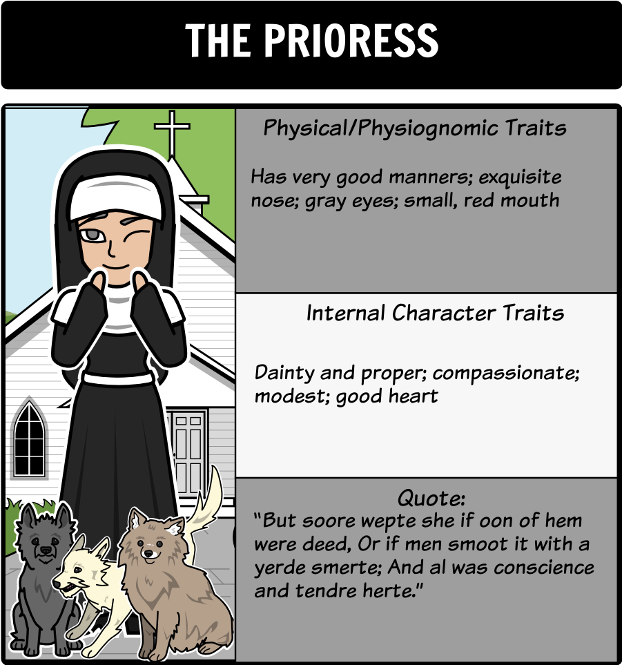 description of the prioress from the Start studying persinger canterbury tales how does chaucer's description of the squire what details of chaucer's description of the prioress indicate that.