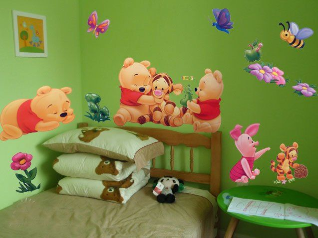 Exceptional [funlife] TC989 Retro Wall Stickers Baby Winnie Pooh U0026 Friend Kids ART WALL Part 11