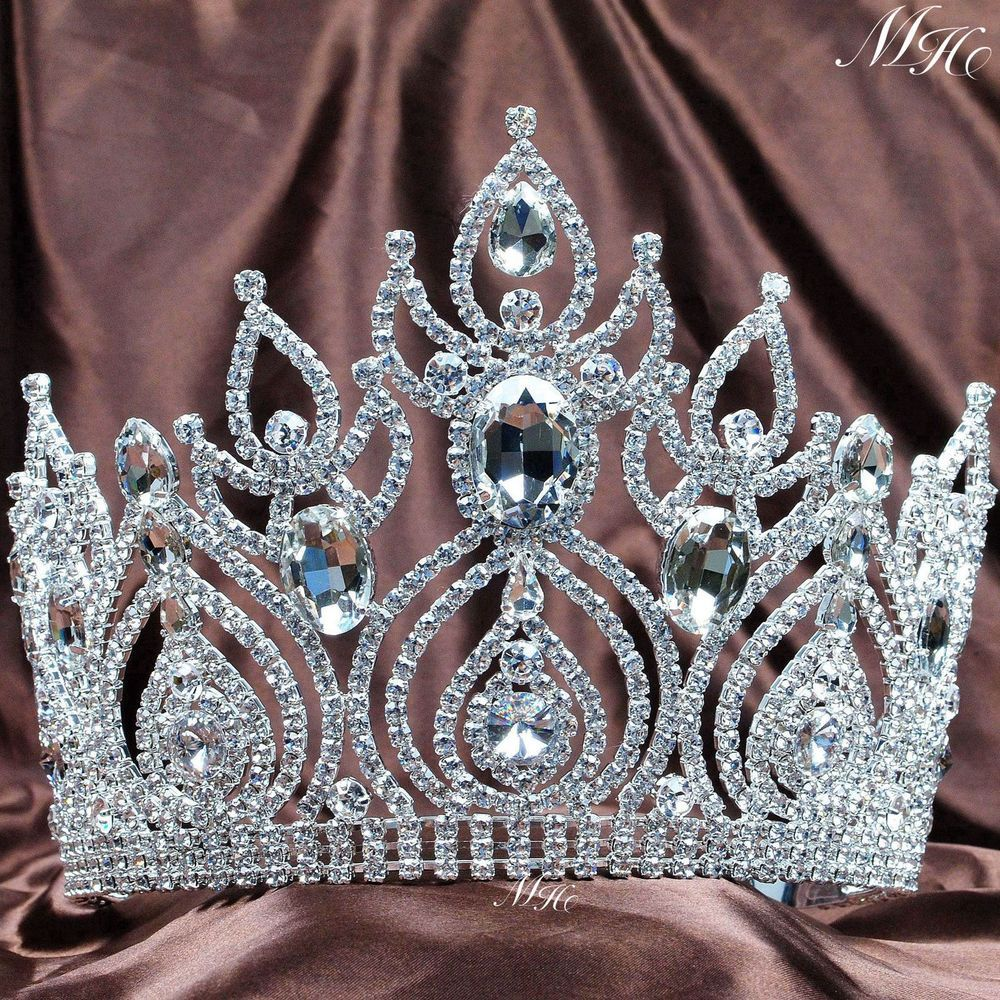 Fantastic Pageant Tiara Diadem Large Wedding Crown Crystal Bridal Prom Party New