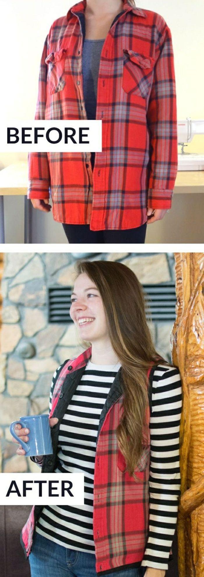 upcycling kleider rotes kariertes hemd in weste verwandeln diy ideen f r erwachsenen pinterest. Black Bedroom Furniture Sets. Home Design Ideas