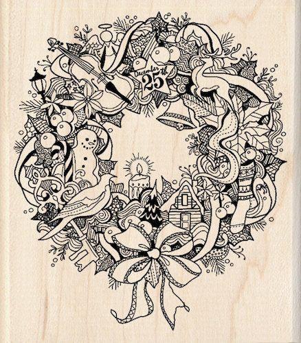 Photo of Items similar to WREATH DOODLE Christmas stamp – Inkadinkado Christmas wreath wooden stamp – Christmas wreath stamp on Etsy