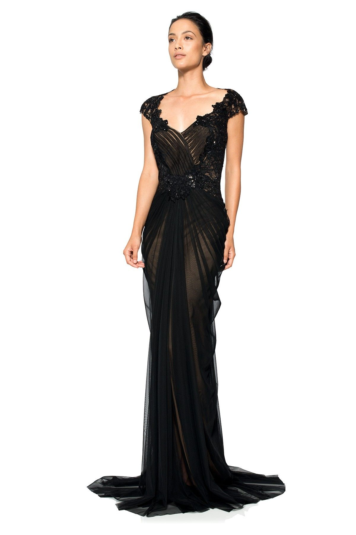Hand-Beaded Lace and Draped Tulle Gown | Tadashi Shoji | Wedding ...