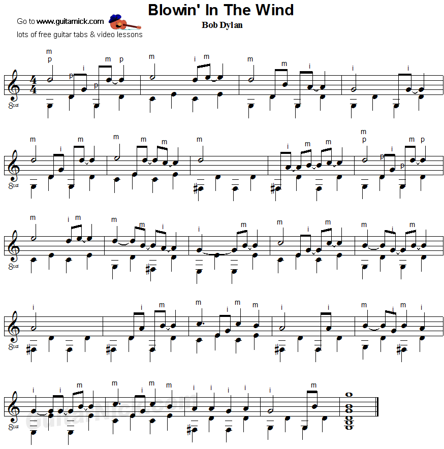 Blowin In The Wind Bob Dylan Fingerpicking Guitar Sheet Music