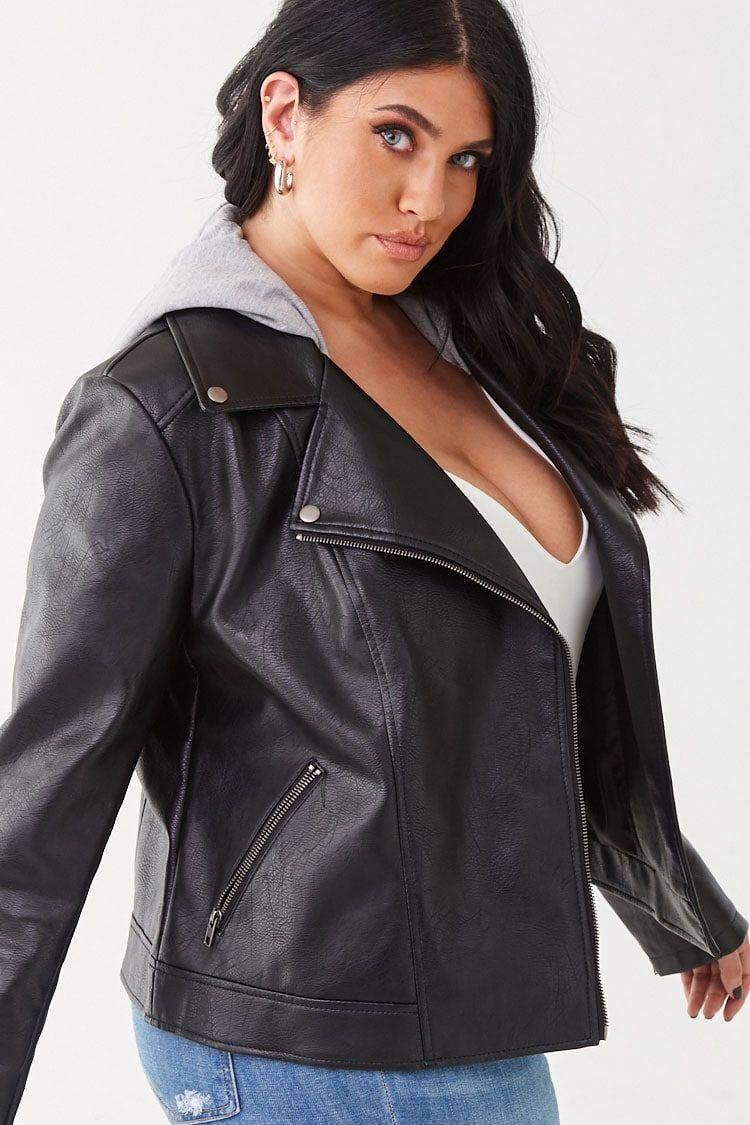 Plus Size Faux Leather Jacket Plus Size Leather Jacket Plus Size Fall Outfit Leather Jacket [ 1125 x 750 Pixel ]
