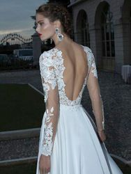 Online Shop 2014 Vintage Style Long Sleeve V-Neck Lace Chiffon Backess Floor Length Beach Wedding Gowns Bridal Dresses Custom Made W28|Aliexpress Mobile