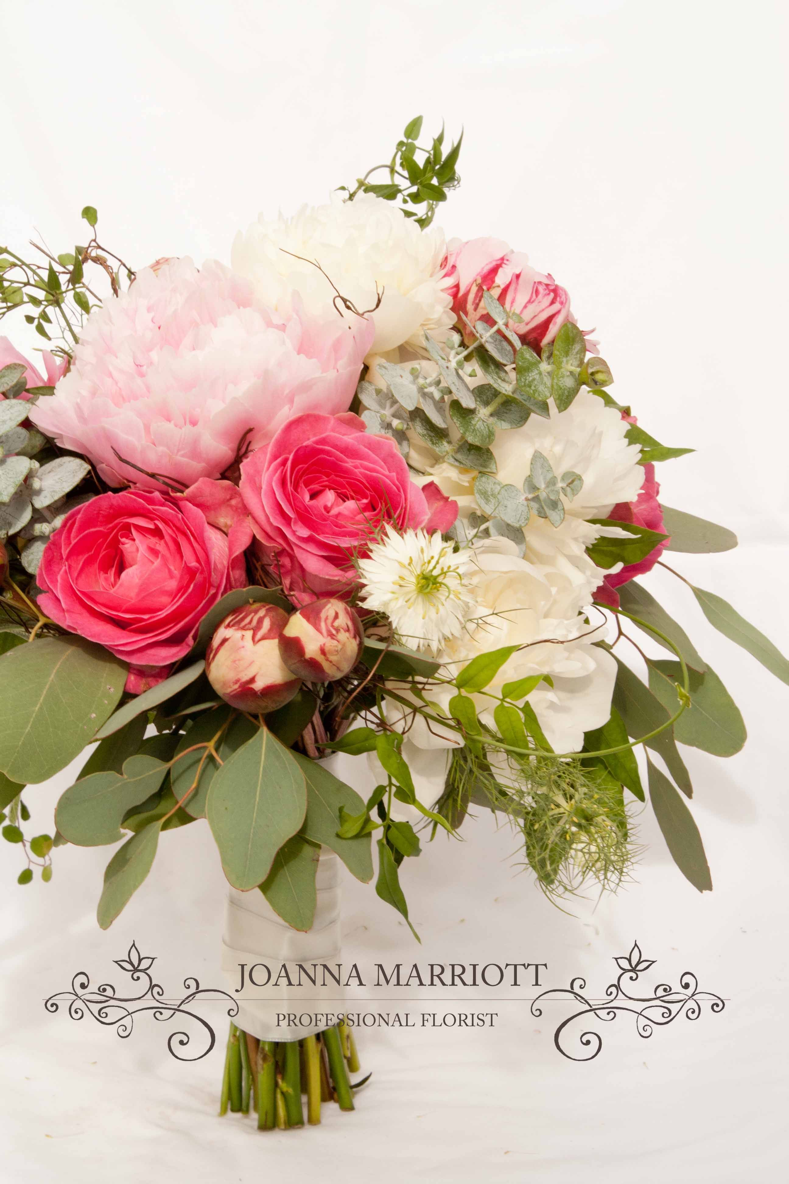 Summer Bridal Bouquet Pink And Cream Peonies Pink Roses Eucalipus