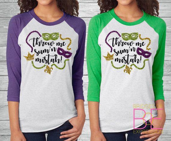 f5e4951a6 ... raglan baseball tees are a personal favorite! Super comfy & soft! -50%  Polyester/25% Cotton/25% Rayon -Bling Glitter Mardi Gras design (in purple,  ...