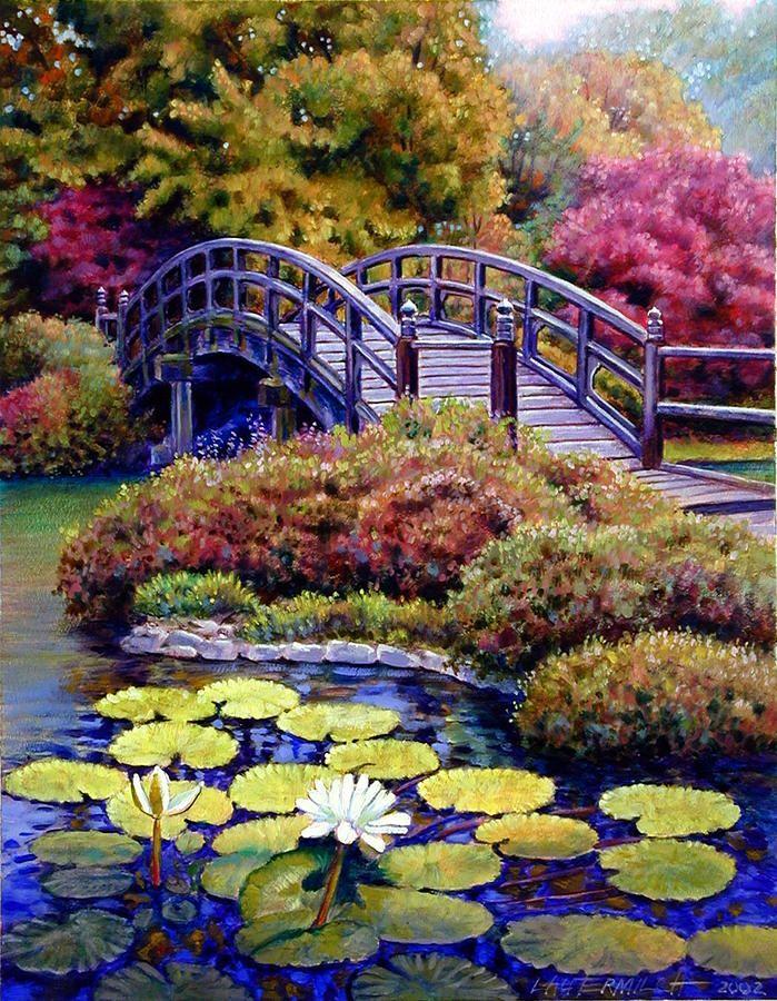 paintings of bridges bridge painting by john lautermilch japanese bridge fine art. Black Bedroom Furniture Sets. Home Design Ideas