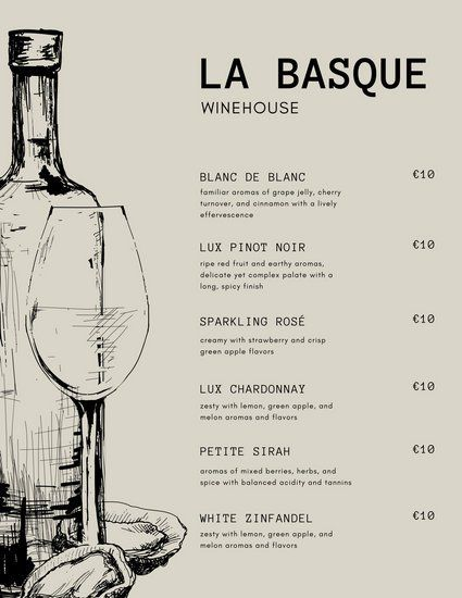 Cream and Black Wine Bottle French Menu アイデア Pinterest - french menu