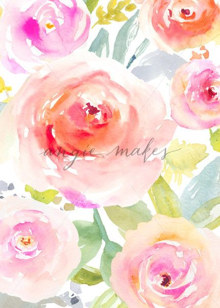 Painted Flower Stationery. Cute Painted Flower Card Background. Watercolor Flower Card. DIY Watercolor Flower Background