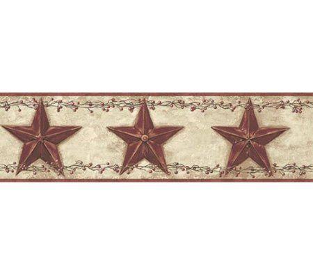 3 Rolls of Country Barn Stars Wallpaper Border Rusty Tin