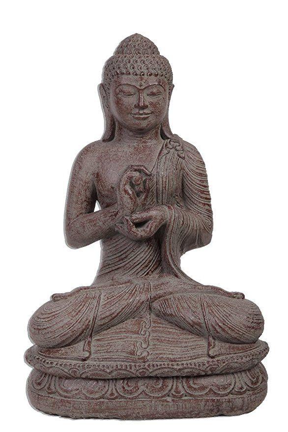 Großer 60cm Lava Stein Buddha Mönch Antik Look Massiv Steinfigur Skulptur Feng  Shui Garten Deko Wetterfest Lawa Steinguss Ca 30 Kilo STB5   Garten U2026